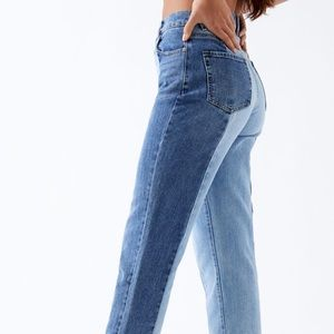 Two tone blue wash jeans